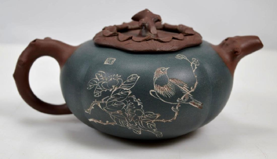 Finely Carved Chinese Yixing Teapot