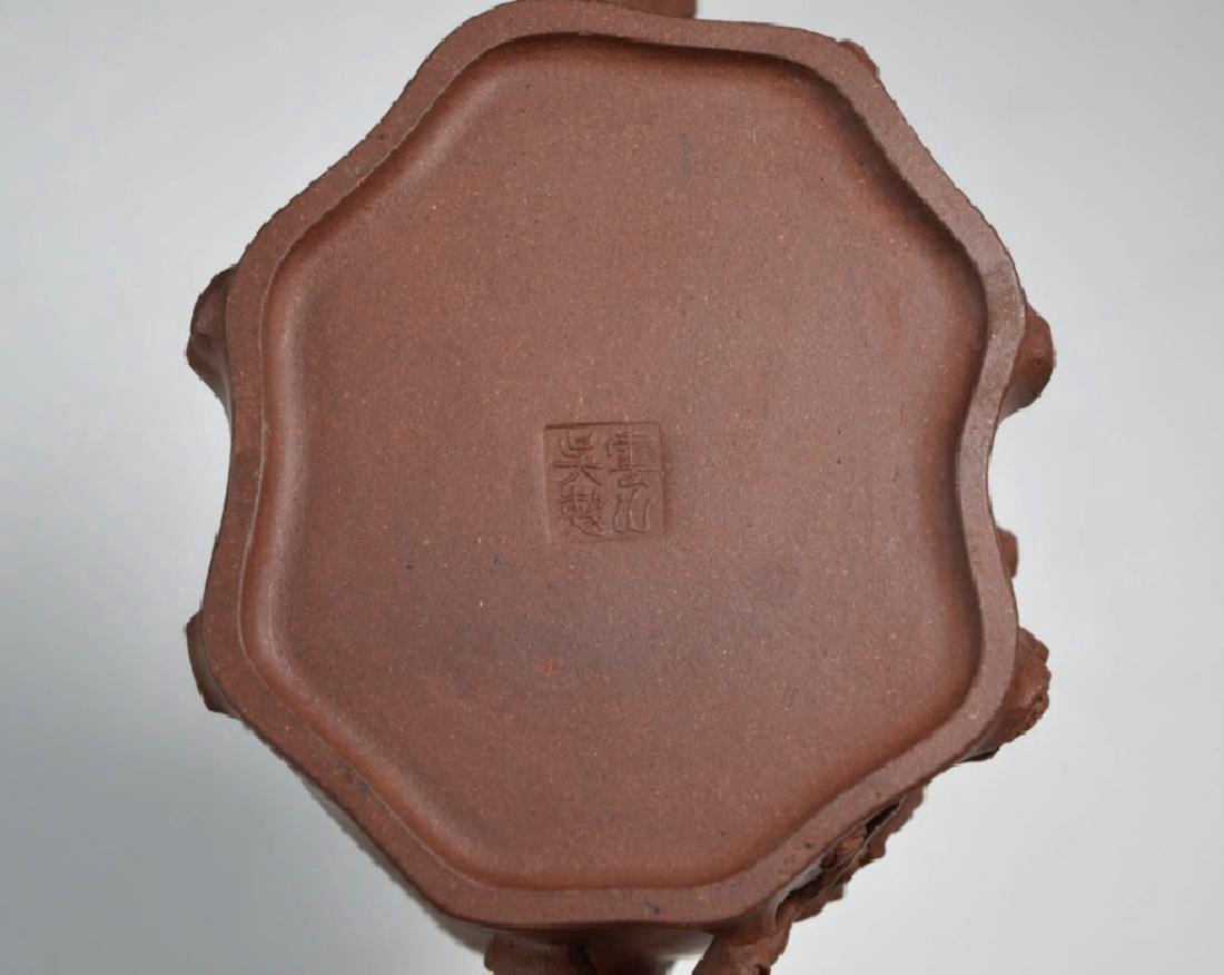 "Chinese Yixing ""Tree-Trunk"" Teapot; Prunus Sprigs - 8"