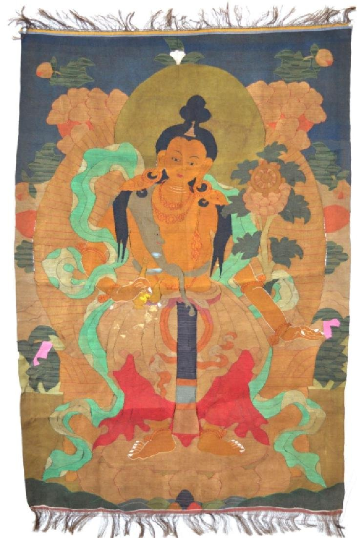 Rare Tibetan Kesi Silk Tapestry Thangka