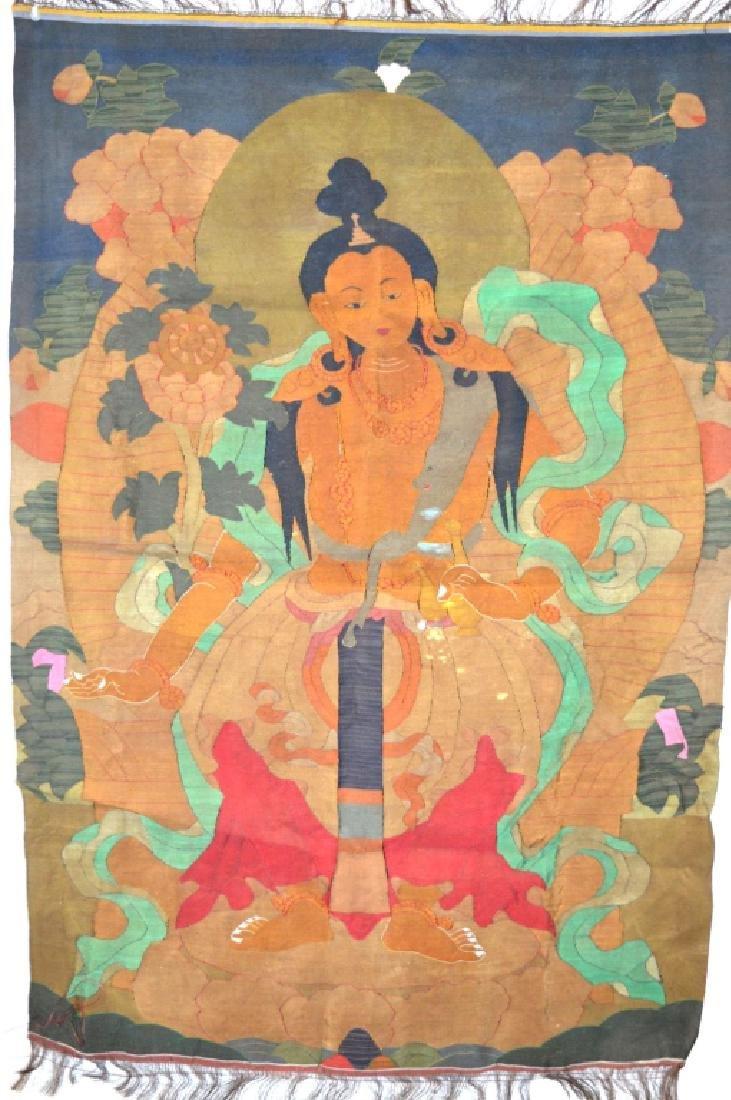 Rare Tibetan Kesi Silk Tapestry Thangka - 7