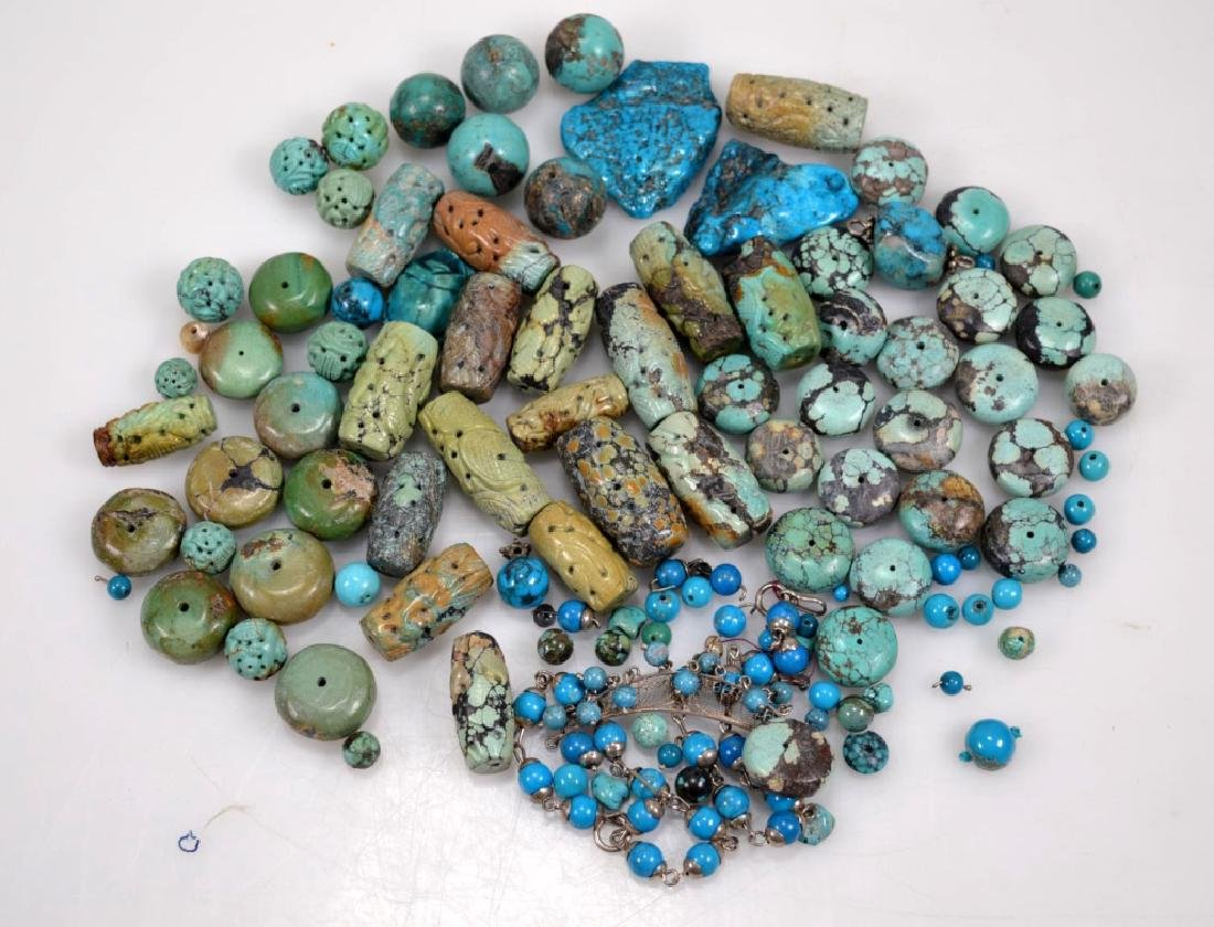 Assorted Carved & Round Turquoise Beads; 754G