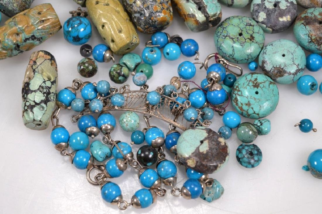 Assorted Carved & Round Turquoise Beads; 754G - 2