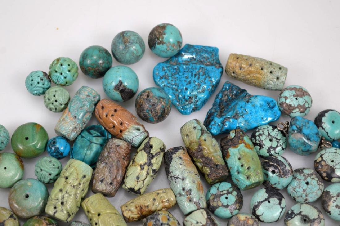 Assorted Carved & Round Turquoise Beads; 754G - 3