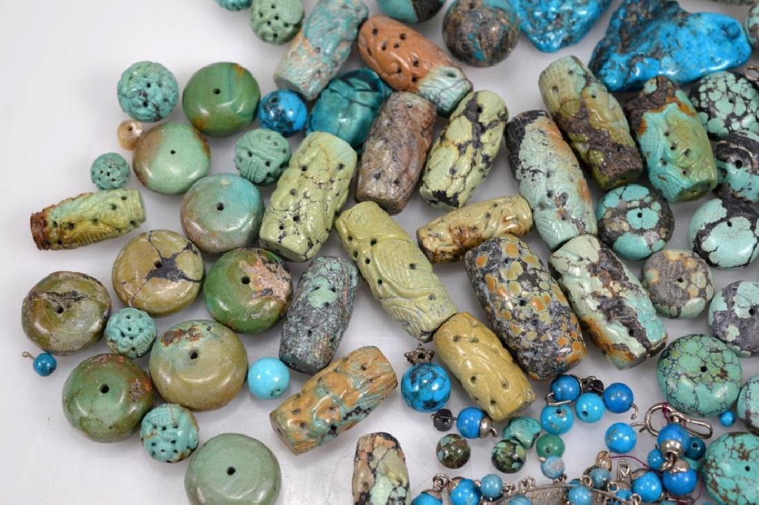 Assorted Carved & Round Turquoise Beads; 754G - 4