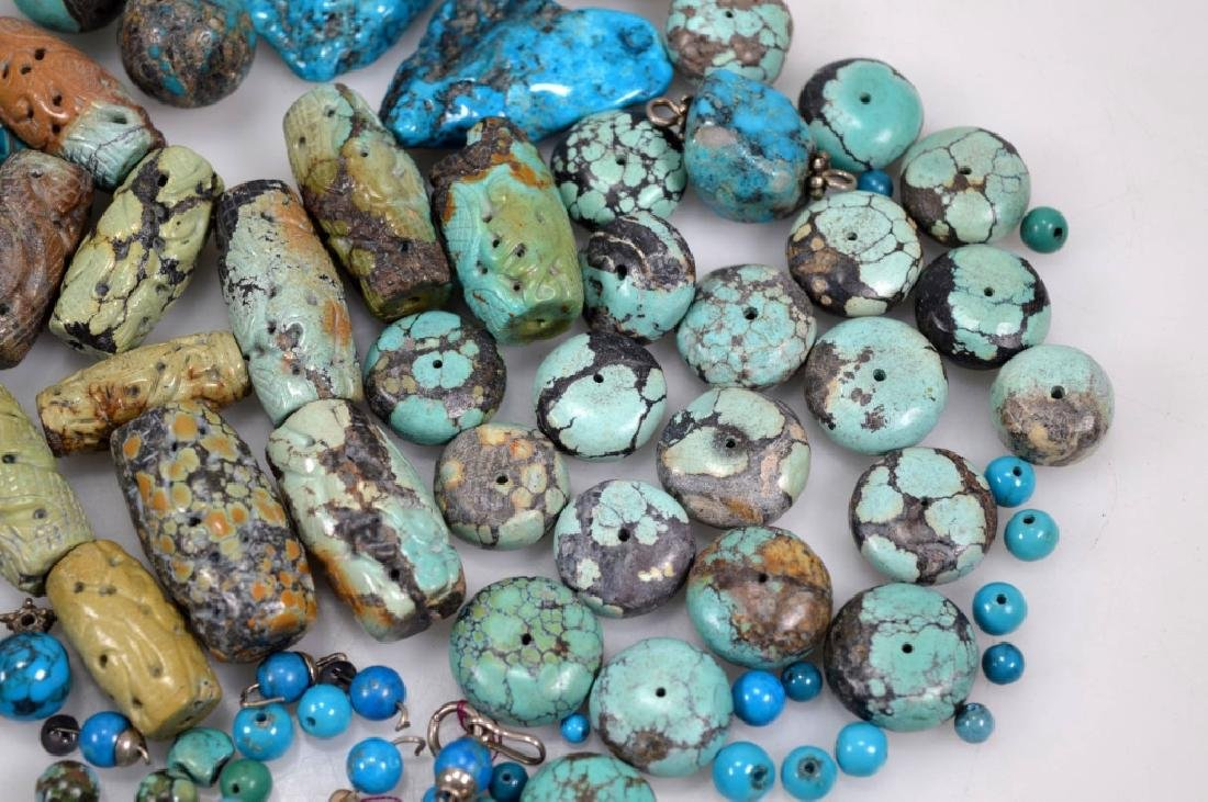 Assorted Carved & Round Turquoise Beads; 754G - 5