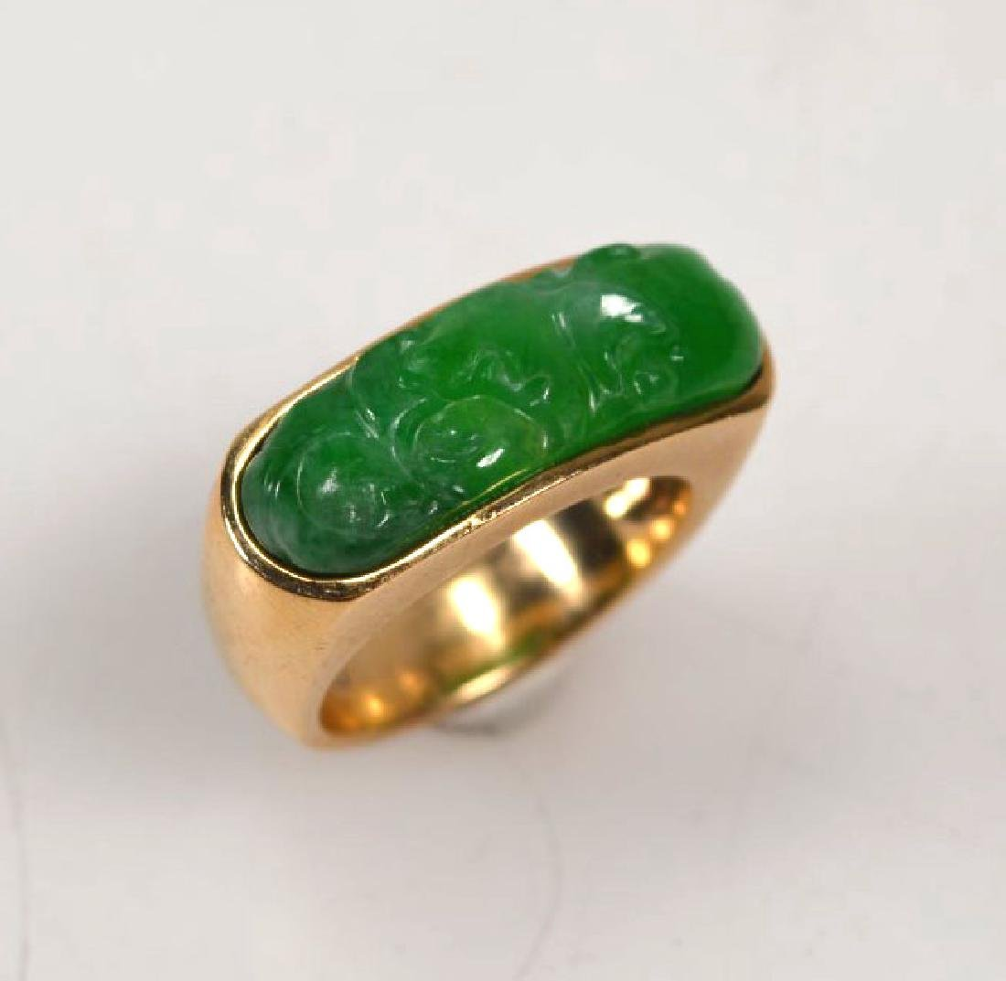 Chinese Carved Natural Jadeite Saddle Ring 14K