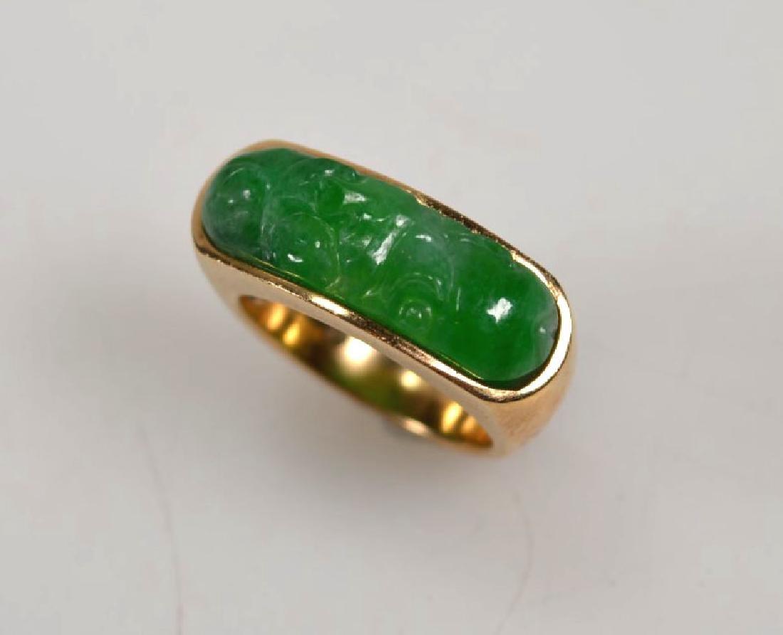 Chinese Carved Natural Jadeite Saddle Ring 14K - 2