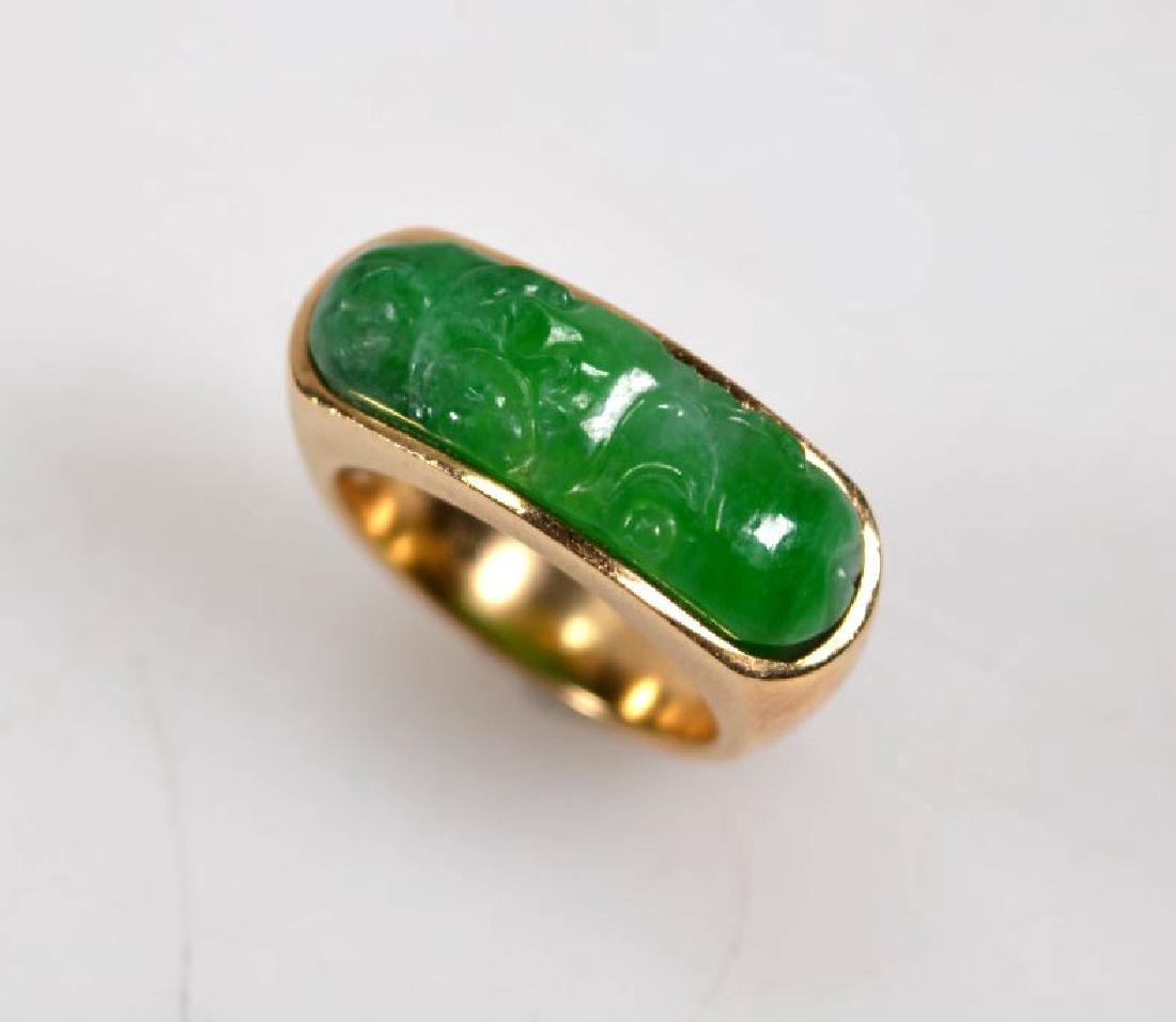 Chinese Carved Natural Jadeite Saddle Ring 14K - 3