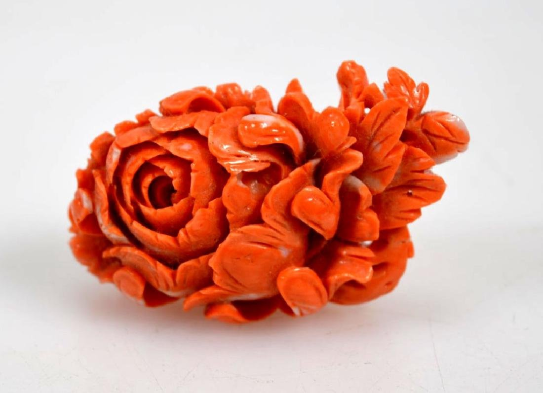 Deeply Carved Chinese Coral Peony Flower; 28G