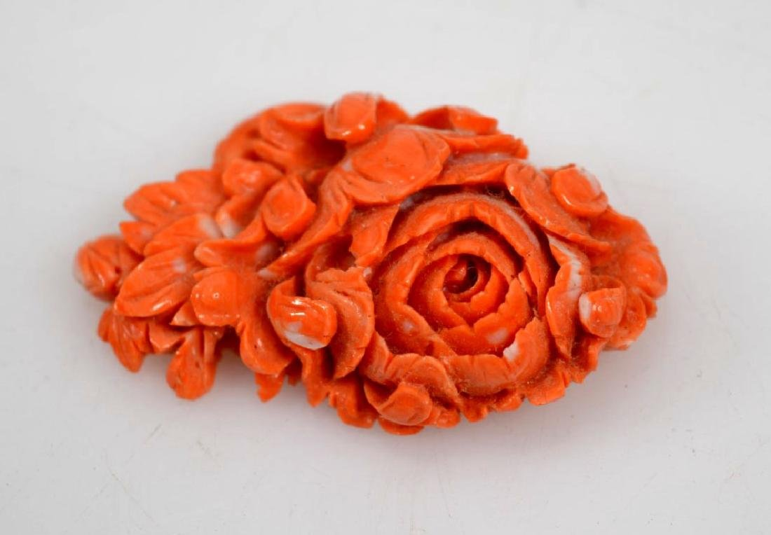 Deeply Carved Chinese Coral Peony Flower; 28G - 2