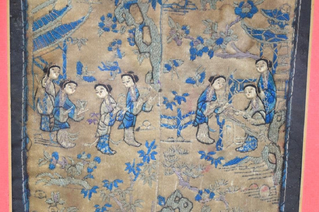 4- Chinese Embroidered Silk Sleeve Ends - 2