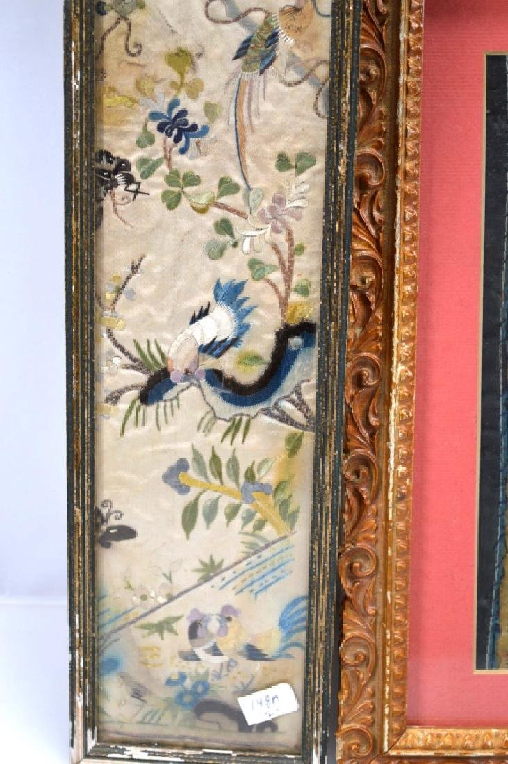 4- Chinese Embroidered Silk Sleeve Ends - 7
