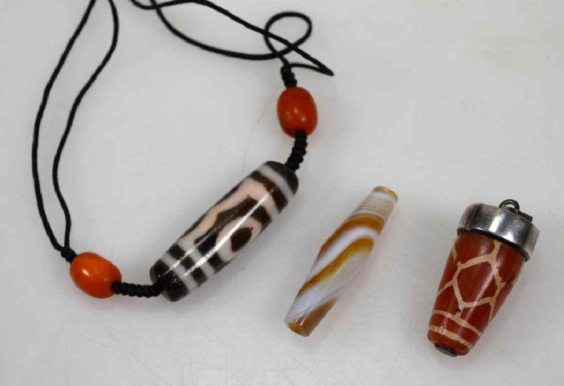 Three Tibetan/Chinese Agate Dzi Beads