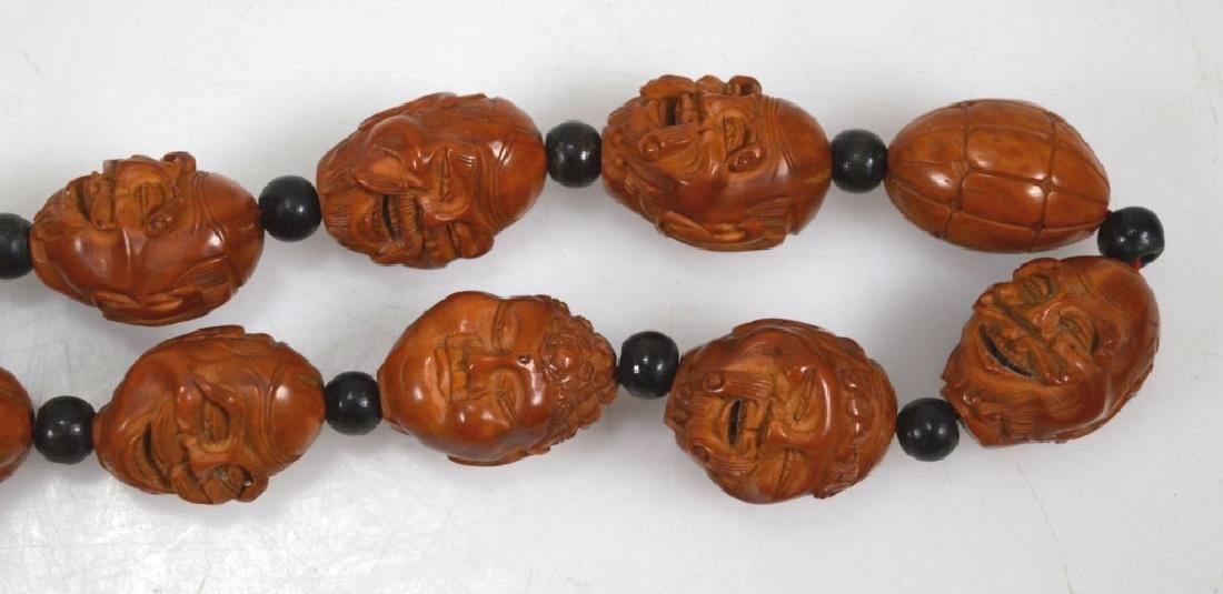Chinese 18 Lohan Carved Wood Head Beads - 3