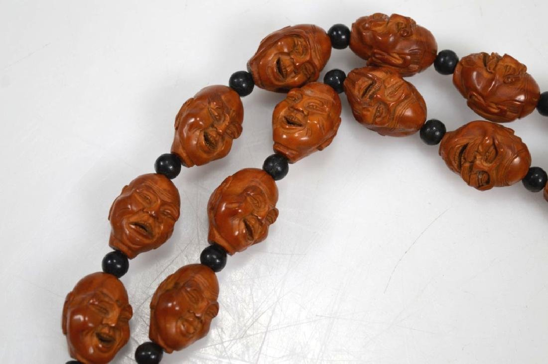 Chinese 18 Lohan Carved Wood Head Beads - 4