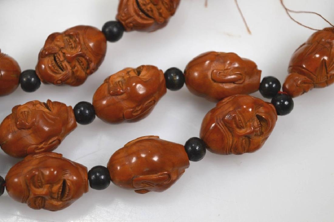 Chinese 18 Lohan Carved Wood Head Beads - 6
