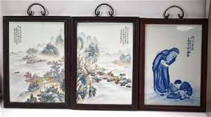 3- Pr Chinese Enameled Porcelain Plaques; 1 B & W