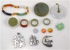 Fourteen Items Chinese Jade, Jadeite, Hardstone