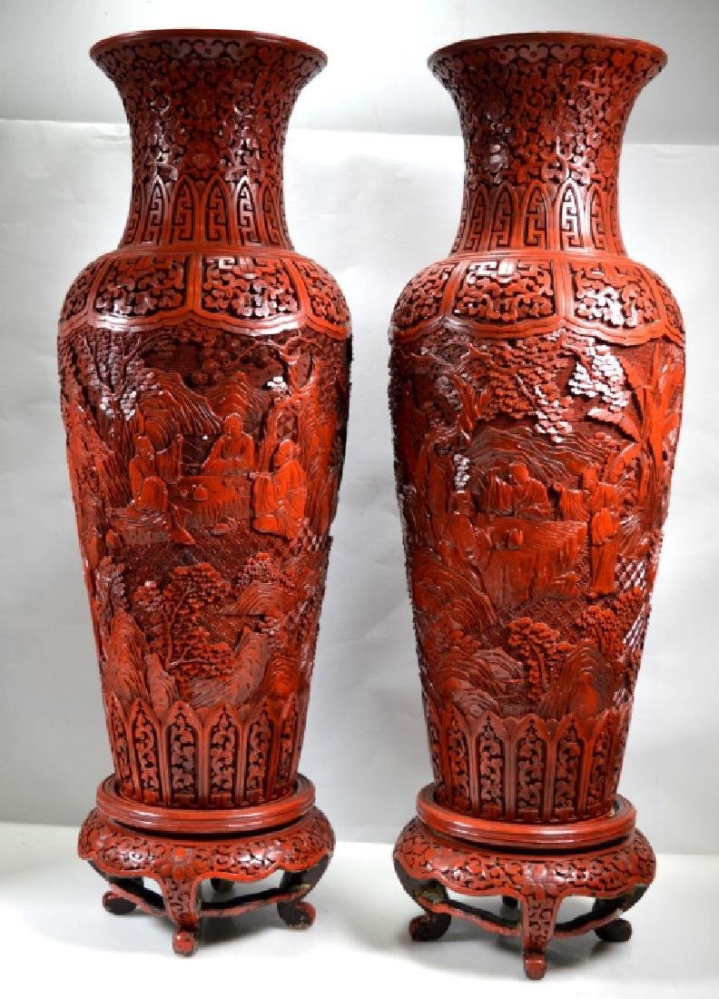 Lg Pr 19th C Chinese Cinnabar Lacquer Vases