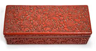 Chinese Qing Carved Red Cinnabar Lacquer Box