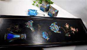Four Chinese Enamel on Silvered Metal Objects