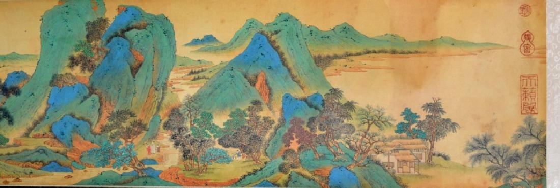 Qiu Ying Chinese Handscroll, Landscape Calligraphy
