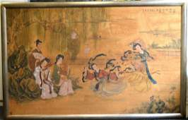 Large Chinese Silk Painting Musicians  Dancers