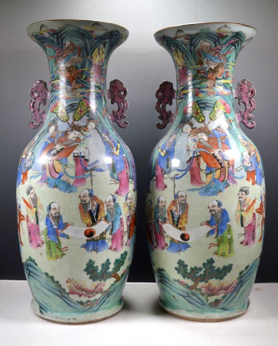 Lg Pr 19th C Chinese Famille Rose Immortals Vases