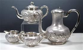 Antique Chinese Silver Teapot Tea Service, 2,058G
