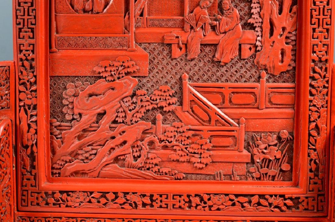 Fine Qing Chinese Cinnabar Lacquer Table Screen - 4