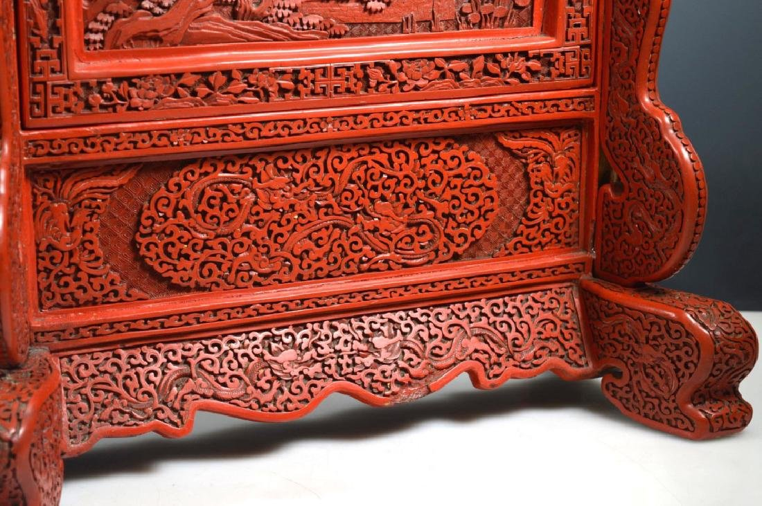 Fine Qing Chinese Cinnabar Lacquer Table Screen - 5
