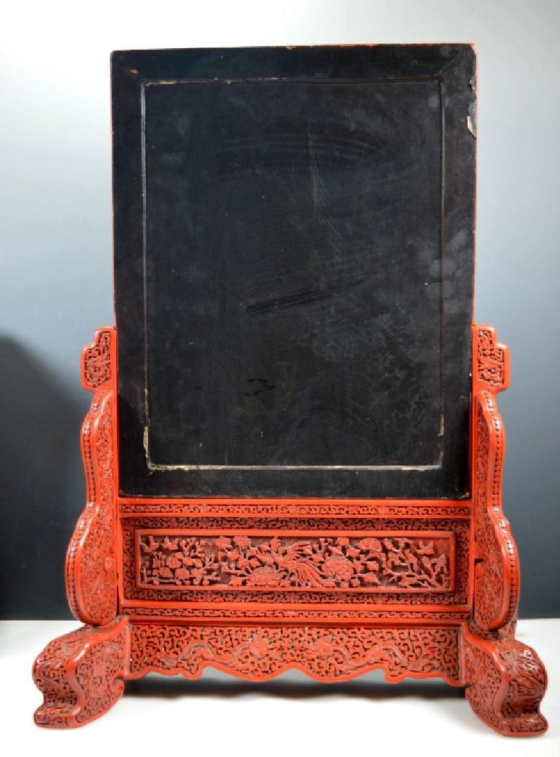 Fine Qing Chinese Cinnabar Lacquer Table Screen - 7