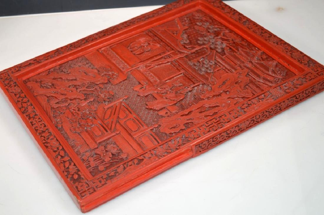 Fine Qing Chinese Cinnabar Lacquer Table Screen - 9