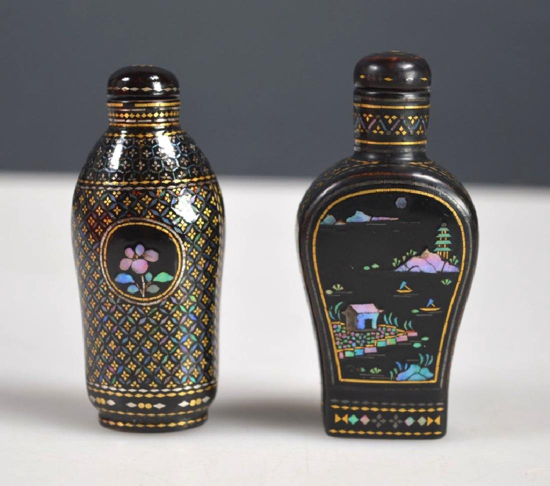 Two 18th/19th C Chinese Lac Burgaute Snuff Bottles