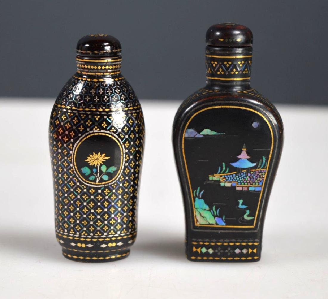 Two 18th/19th C Chinese Lac Burgaute Snuff Bottles - 2