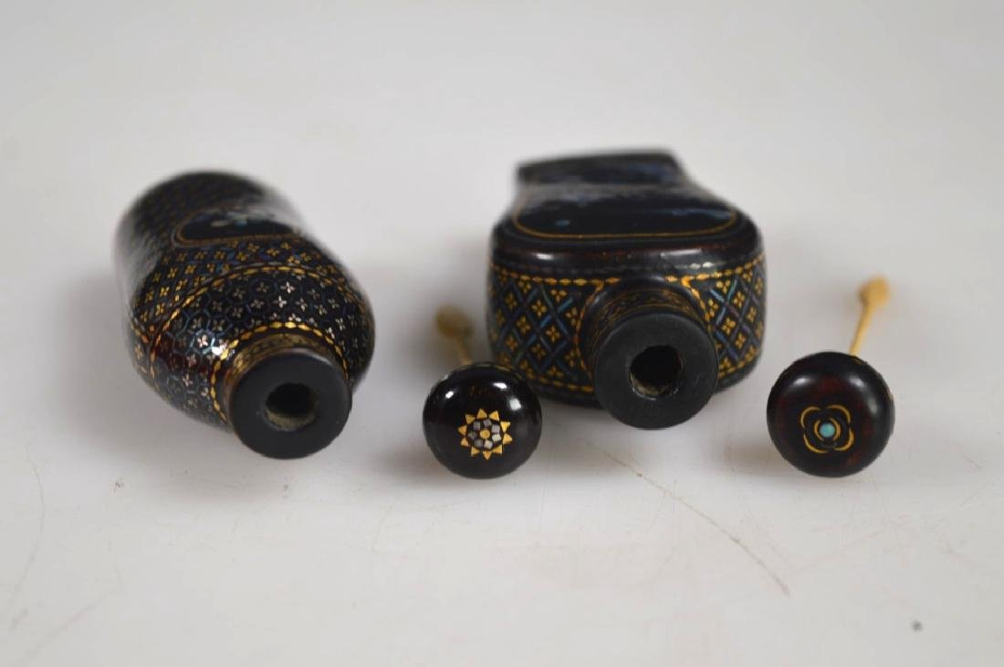Two 18th/19th C Chinese Lac Burgaute Snuff Bottles - 6
