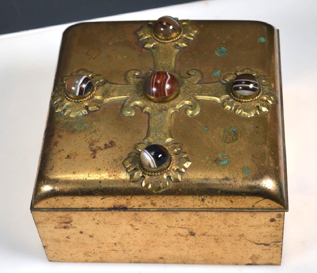 Leuchars & Sons; English Agate Bronze Jewel Box