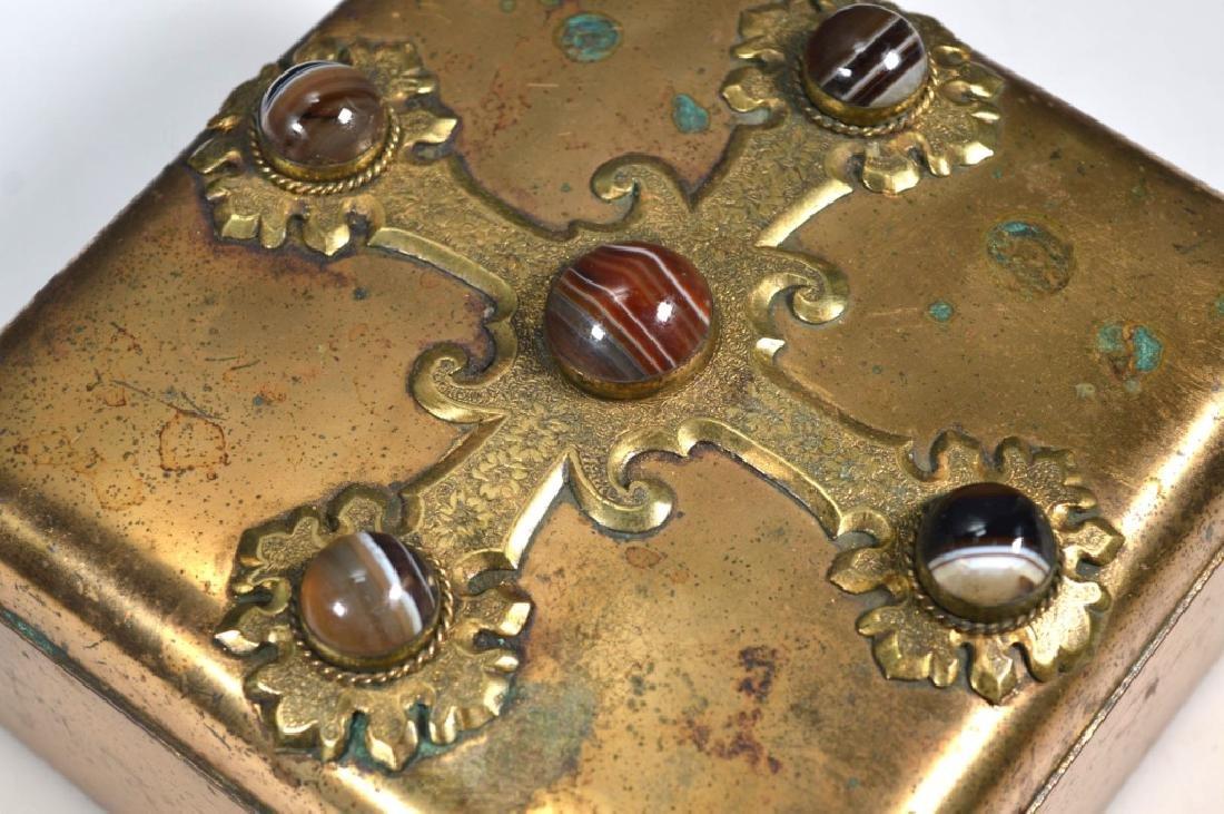Leuchars & Sons; English Agate Bronze Jewel Box - 2
