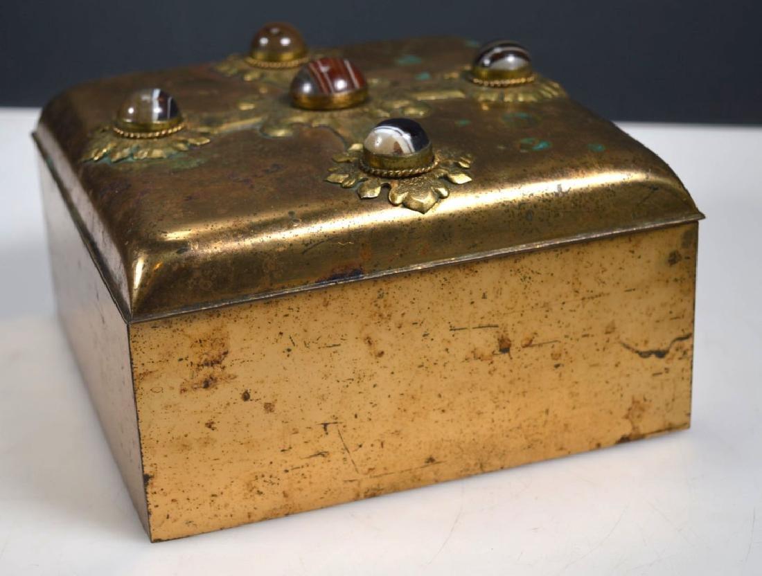 Leuchars & Sons; English Agate Bronze Jewel Box - 4