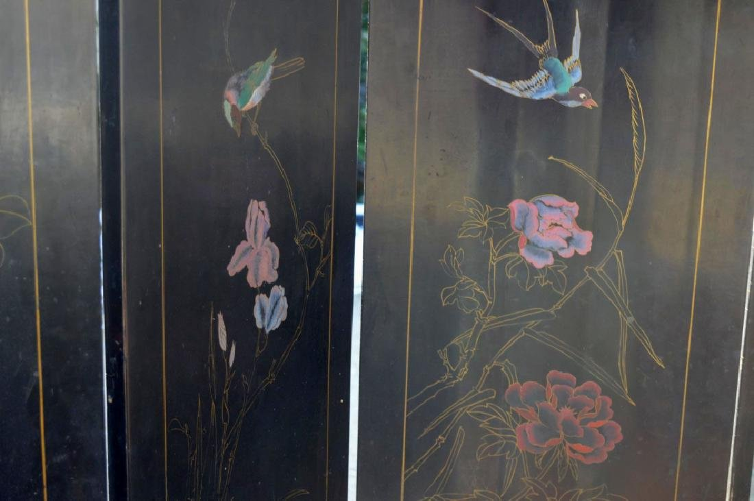Chinese 4-Panel Lacquer & Carved Soapstone Screen - 10