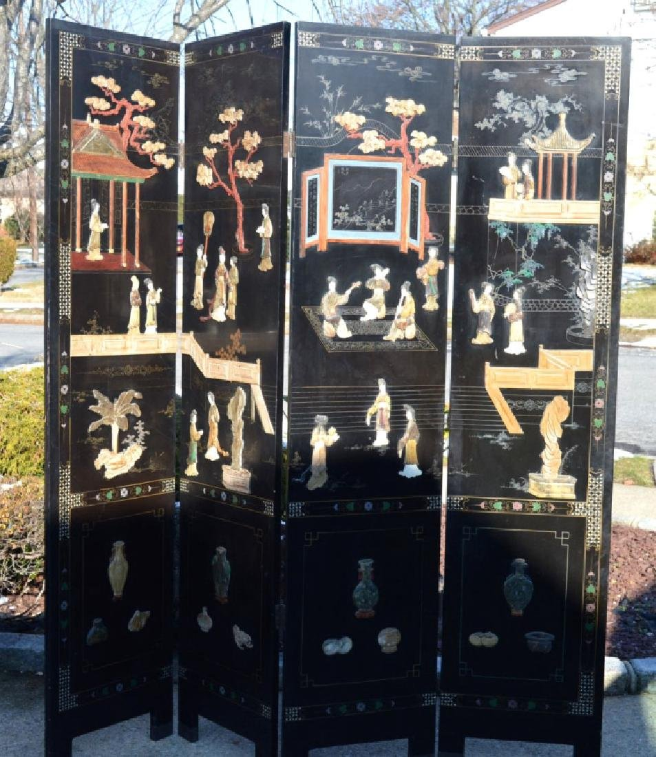 Chinese 4-Panel Lacquer & Carved Soapstone Screen