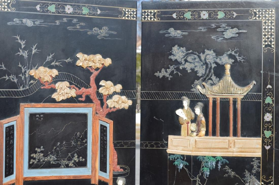 Chinese 4-Panel Lacquer & Carved Soapstone Screen - 2