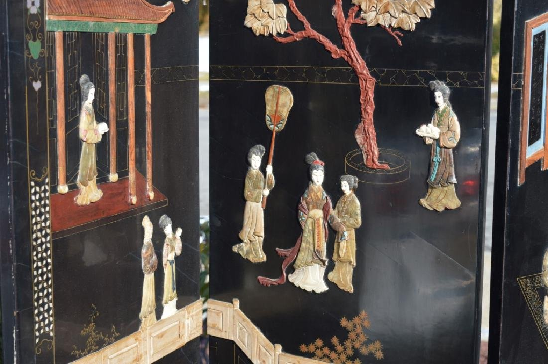 Chinese 4-Panel Lacquer & Carved Soapstone Screen - 6