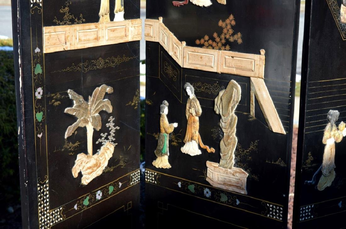 Chinese 4-Panel Lacquer & Carved Soapstone Screen - 7