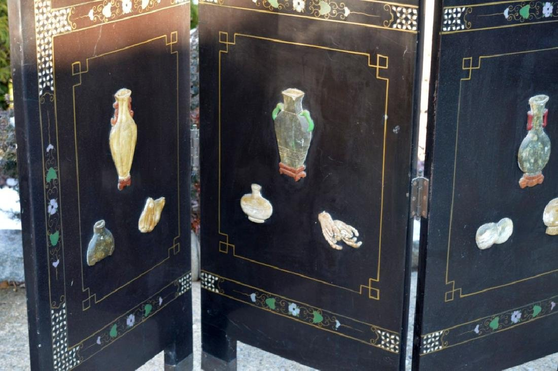 Chinese 4-Panel Lacquer & Carved Soapstone Screen - 8