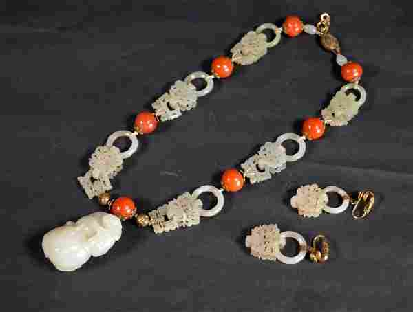 4 Sets Qing Chinese White Jade Earrings & Pendant
