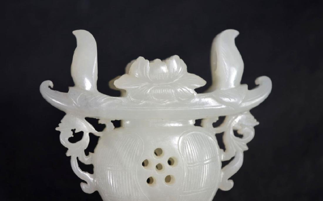 18th/19th C Chinese White Jade Perfume Pendant - 5