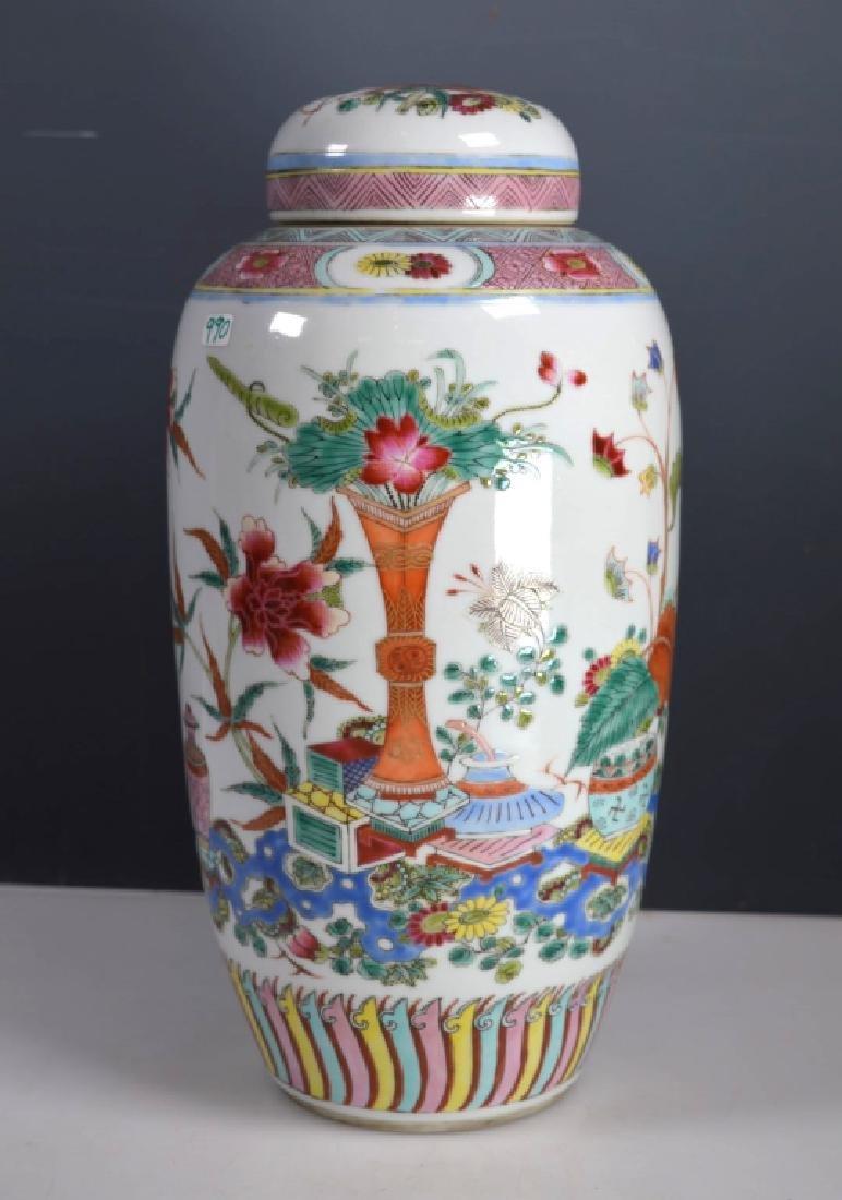 Antique Chinese Famille Rose Enameled Ginger Jar
