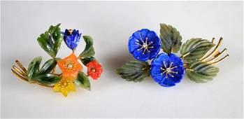 2 Carved Hardstone Flower Pins in 18K or 14K
