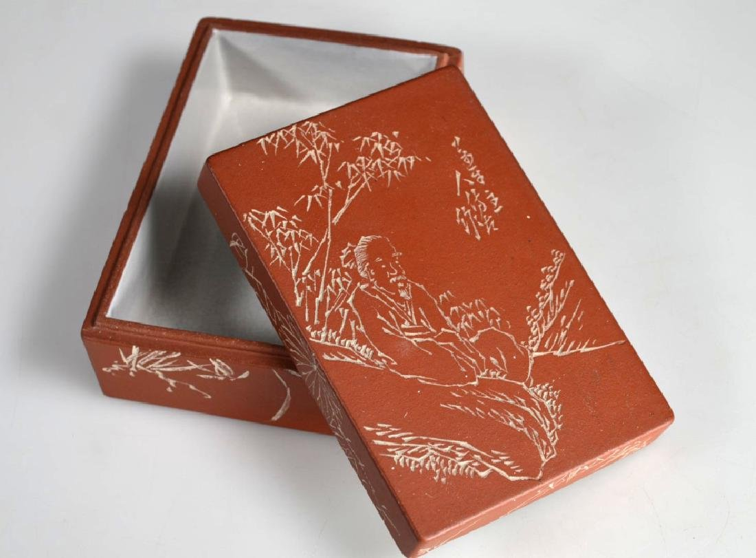 Chinese Incised & Enameled Yixing Box & Cover
